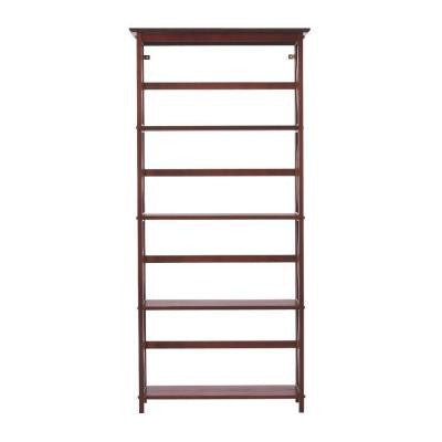 Montego 29.5 in. W High 4-Shelf Bookshelf in Walnut