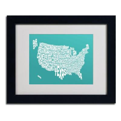 11 in. x 14 in. USA States Text Map - Turquoise Matted Framed Art