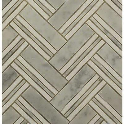 Boost White Carrera with Thassos Line Marble Mosaic Tile - 3 in. x 6 in. Tile Sample