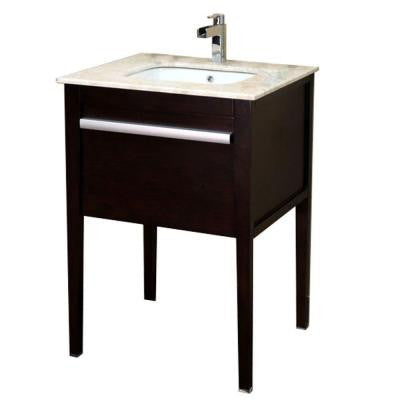 Upland 26 in. Single Vanity in Dark Mahogany with Marble Vanity Top in Cream