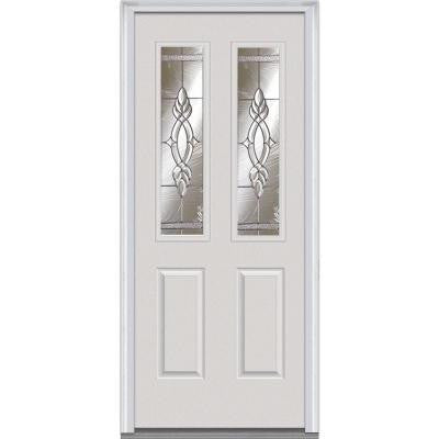 36 in. x 80 in. Brentwood Decorative Glass 2 Lite 2-Panel Primed White Builder's Choice Steel Prehung Front Door