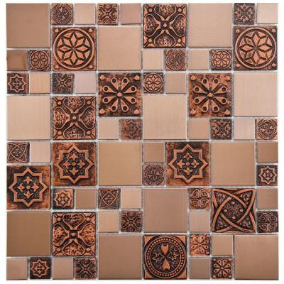Meta Versailles Copper 11-3/4 in. x 11-3/4 in. x 8 mm Stainless Steel Over Porcelain Mosaic Wall Tile