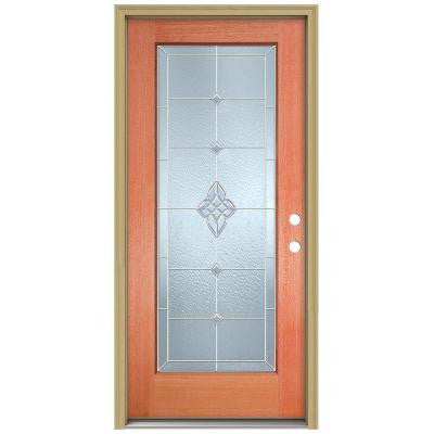 36 in. x 80 in. Rosemont Full Lite Unfinished Mahogany Wood Prehung Front Door with Brickmould and Zinc Caming