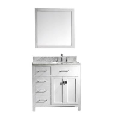Caroline Parkway 36 in. Single Vanity in White with Marble Vanity Top in Italian Carrara and Mirror