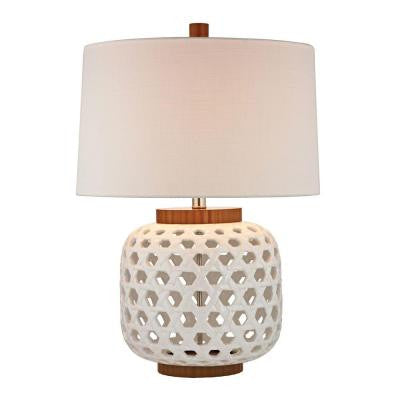 Woven Ceramic 26 in. White and Wood Tone Table Lamp with Shade
