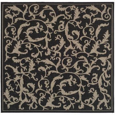 Courtyard Black/Sand 7 ft. 10 in. x 7 ft. 10 in. Square Indoor/Outdoor Area Rug