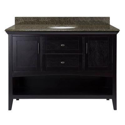 Brattleby 49 in. W x 22 in. D Vanity in Espresso with Granite Vanity Top in Quadro with White Basin