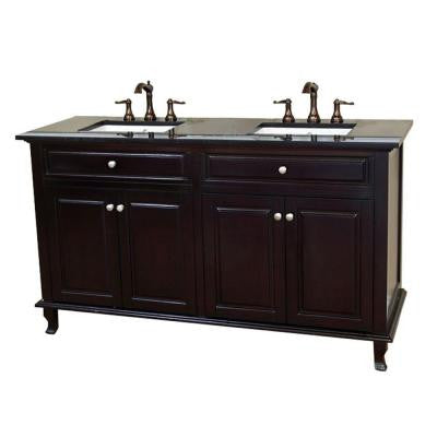 Cardiff 62 in. Double Vanity in Dark Mahogany with Granite Vanity Top in Black Galaxy