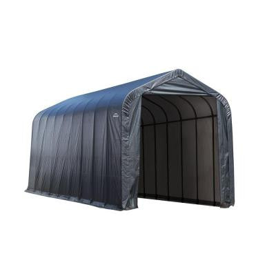 15 ft. x 28 ft. x 12 ft. Grey Cover Peak Style Shelter