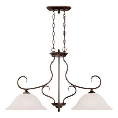 2-Light Rubbed Bronze Island Light with India Scavo Glass