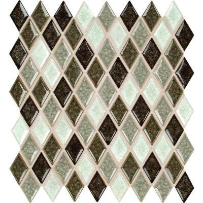 Saddle Canyon Rhomboid 12 in. x 12 in. x 8 mm Glass Stone Mesh-Mounted Mosaic Wall Tile (10 sq. ft. / case)