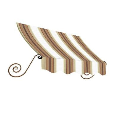 18 ft. Charleston Window Awning (31 in. H x 24 in. D) in White/Linen/Terra cotta Stripe