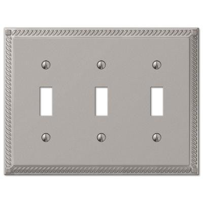 Georgian 3 Toggle Wall Plate - Satin Nickel