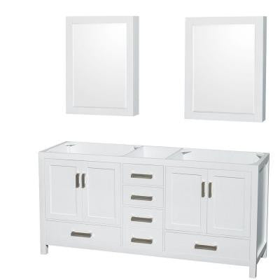 Sheffield 70.75 in. Double Vanity Cabinet with Mirror Medicine Cabinets in White