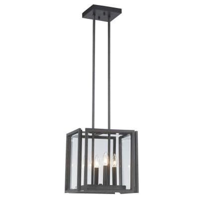 4-Light Oxide Bronze Pendant with Panel Glass Shade