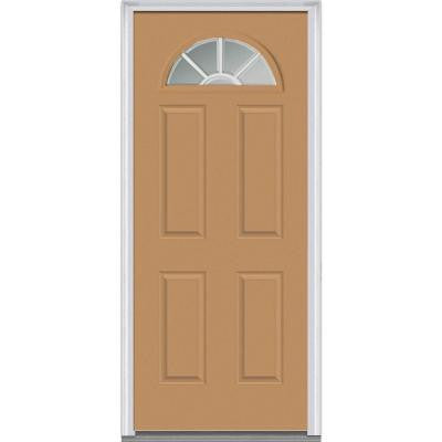 30 in. x 80 in. Classic Clear Glass GBG 1/4 Lite Painted Fiberglass Smooth Prehung Front Door