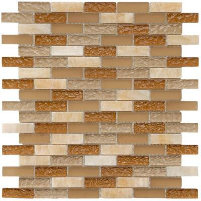 Tessera Subway Amber 11-3/4 in. x 11-3/4 in. x 8 mm Glass and Stone Mosaic Wall Tile