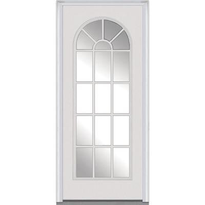 32 in. x 80 in. Classic Clear Glass Full Lite Round Top Primed Fiberglass Smooth Prehung Front Door