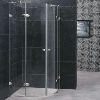 34 in. x 73 in. Frameless Neo-Round Shower Enclosure in Brushed Nickel and Clear Glass