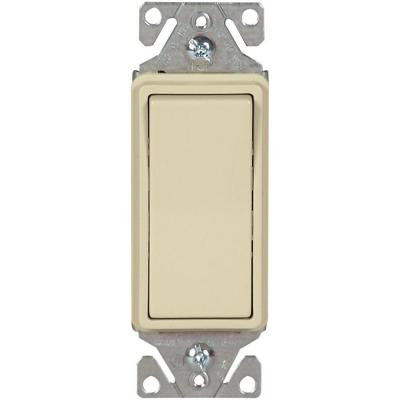 15 Amp 120-277-Volt Heavy-Duty Grade 3-Way Decorator Lighted Switch with Back and Push Wire - Ivory
