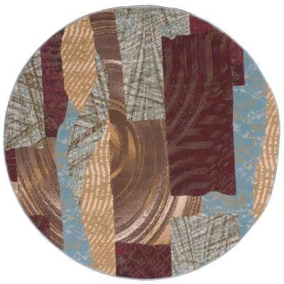 Modesto Splash Brown 5 ft. 3 in. Round Area Rug