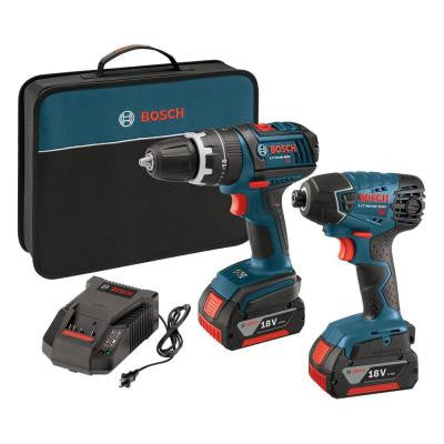 18-Volt Lithium-Ion Cordless 1/2 in. Compact Tough Hammer Drill Driver and 1/4 in. Impact Driver Kit (2-Tool)