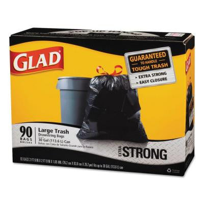 30 gal. Drawstring Outdoor Black Trash Bags (90-Count)