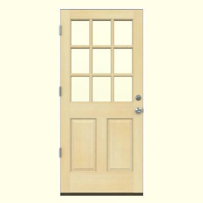 32 in. x 80 in. 9 Lite Unfinished Hemlock Prehung Front Door with Primed White AuraLast Jamb