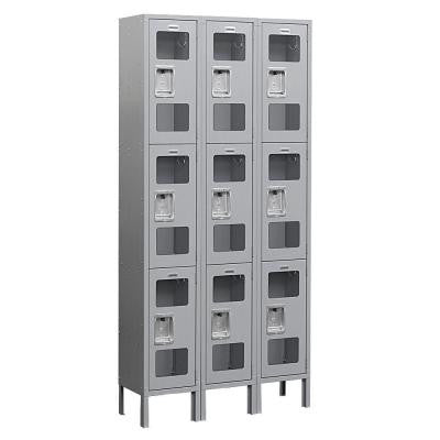 S-63000 Series 36 in. W x 78 in. H x 15 in. D 3-Tier See-Through Metal Locker Unassembled in Gray