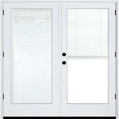 59-1/4 in. x 79-1/2 in. Composite White Right-Hand Outswing Hinged Patio Door with Low-E Blinds Between Glass