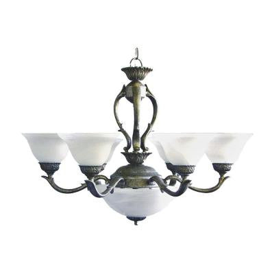 8-Light Pewter Gold Chandelier