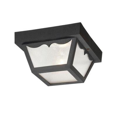 Durex Collection Ceiling Mount 1-Light Outdoor Matte Black Light Fixture