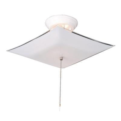 2-Light White Ceiling Square Mount Light Fixture with Pullchain