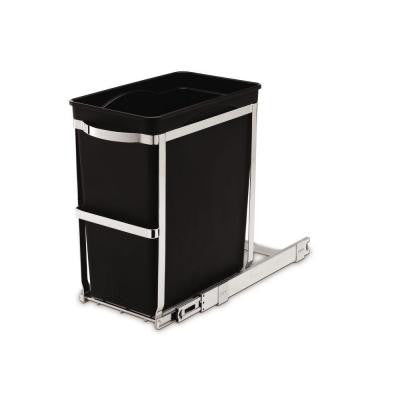 6.8-Gallon Black Rectangular Commercial-Grade Under-Counter Pull-Out Trash Can