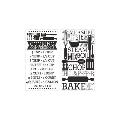 5 in. x 11.5 in. Cooking Conversions Peel and Stick Wall Decal