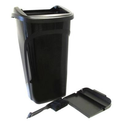 10 Gal. All in 1 Black Wastebasket with Dustpan Lid and Brush