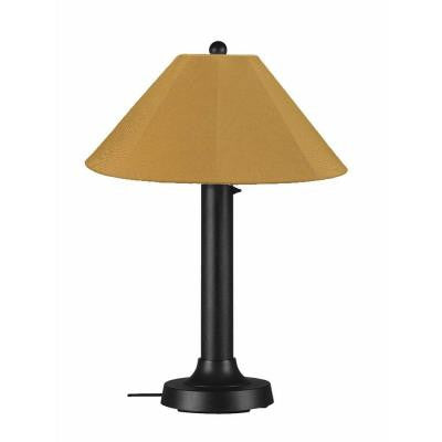Catalina 34 in. Black Outdoor Table Lamp with Brass Shade