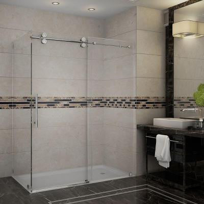 Langham 60 in. x 35 in. x 75 in. Completely Frameless Shower Enclosure in Stainless Steel with Clear Glass