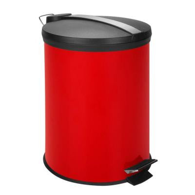 3 Gal. Red Round Metal Step-On Touchless Trash Can