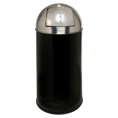 12 Gal. Black/Chrome Round Top Trash Can