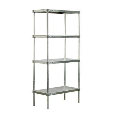 4-Shelf Aluminum Solid Top Style Adjustable Shelving