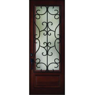 36 in. x 80 in. Decorative Iron Grille 3/4- Lite Stained Mahogany Wood Prehung Front Door