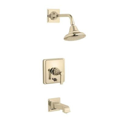 Rite-Temp Pressure-Balance 1-Handle Tub and Shower Faucet Trim Kit in Vibrant French Gold (Valve Not Included)
