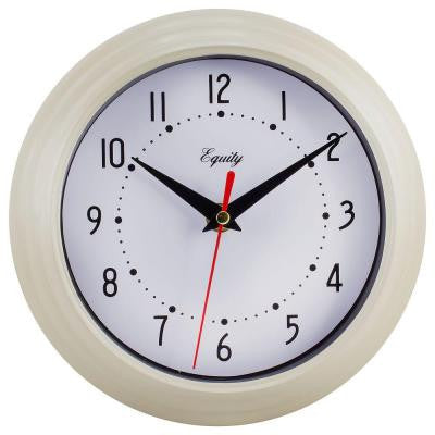 8 in. H x 8 in. W Round Almond Color Plastic Analog Wall Clock