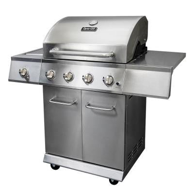 4-Burner Stainless Steel Propane Gas Grill with Side Burner
