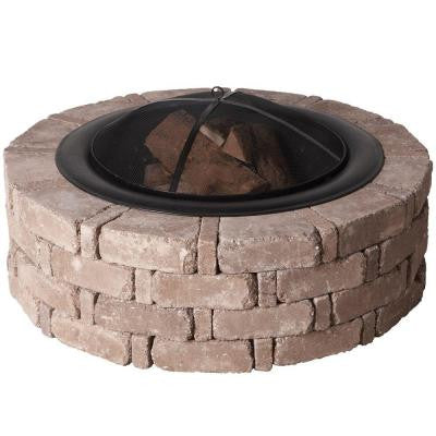 45.8 in. x 14 in. RumbleStone Round Fire Pit Kit in Greystone
