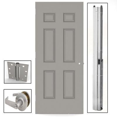 36 in. x 80 in. Gray 6-Panel Steel Commercial Door with Hardware