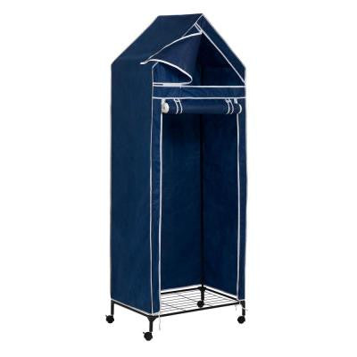 Portable Covered Closet Rack with Wheels in Blue