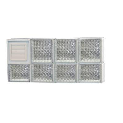 31 in. x 13.5 in. x 3.125 in. Diamond Pattern Glass Block Window with Dryer Vent