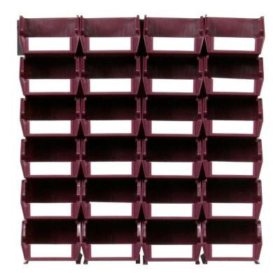 LocBin Small Wall Storage Bin (24-Piece) with 2-Wall Mount Rails in Raspberry